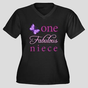 One Fabulous Niece Women's Plus Size V-Neck Dark T