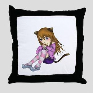 Chibi Cat Throw Pillow