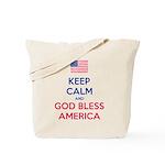 Keep Calm and God bless America Tote Bag