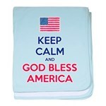 Keep Calm and God bless America baby blanket