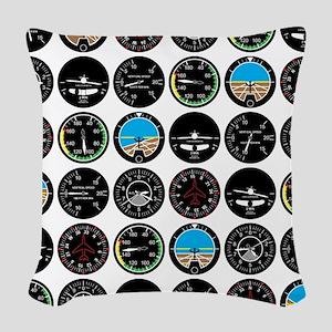 Flight Instruments Woven Throw Pillow