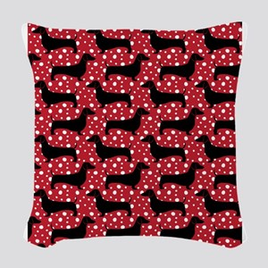 Red Polka Doxies Woven Throw Pillow
