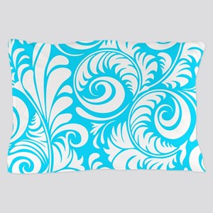 Turquoise & White Swirls Pillow Case