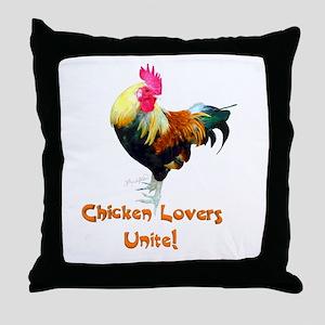 Chicken Lovers Unite! Throw Pillow