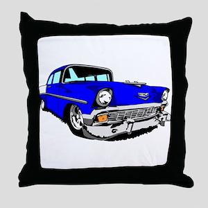 56 Bel Air 2 Door Blue Throw Pillow
