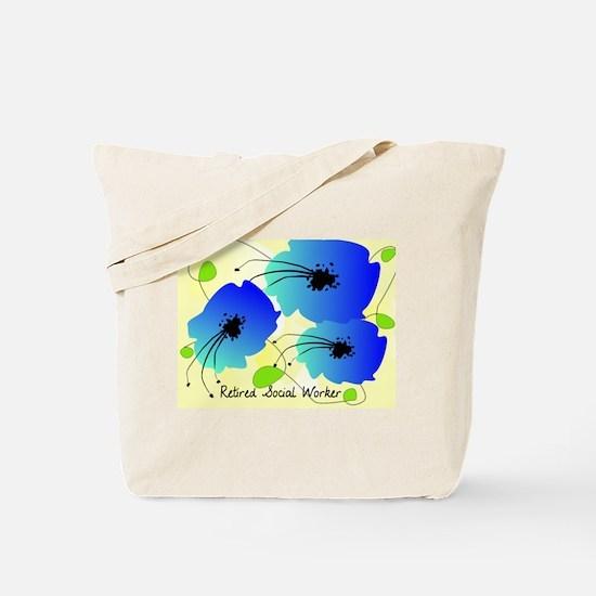 Retired Social Worker Blue Flowers Tote Bag
