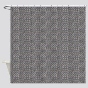 Diamond Metal Plate Industrial Shower Curtain
