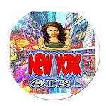 new york city girl Round Car Magnet