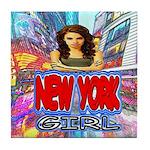new york city girl Tile Coaster