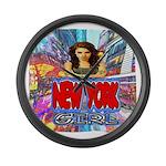 new york city girl Large Wall Clock