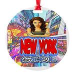 new york city girl Round Ornament