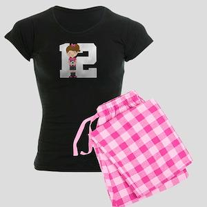 Soccer Sports Number 12 Women's Dark Pajamas