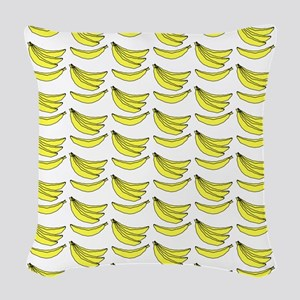 Yellow Bananas Pattern Woven Throw Pillow