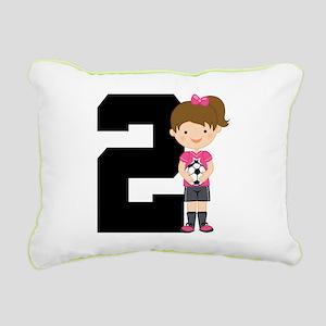 Soccer Sports Number 2 Rectangular Canvas Pillow