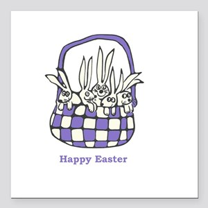"Easter Bunnies Square Car Magnet 3"" x 3"""
