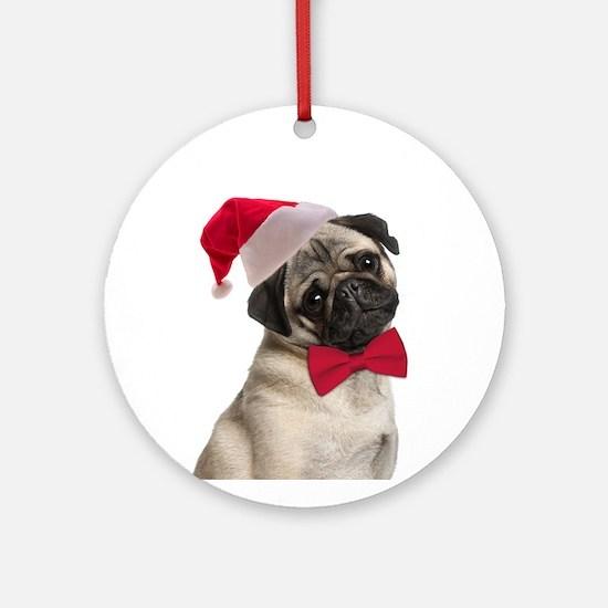 Santa Pug Ornament (Round)