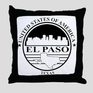 El Paso logo white and black Throw Pillow