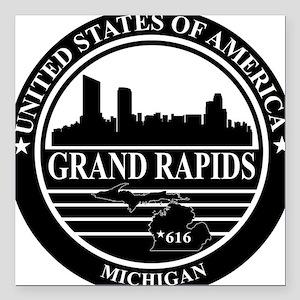 Grand rapids logo black and white Square Car Magne