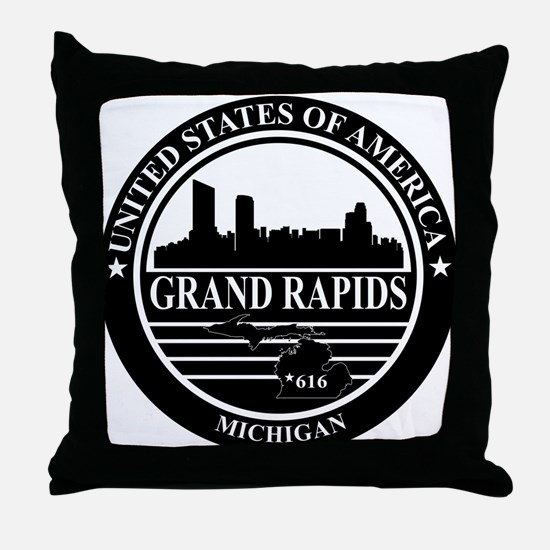Grand rapids logo black and white Throw Pillow