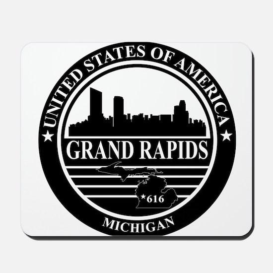 Grand rapids logo black and white Mousepad