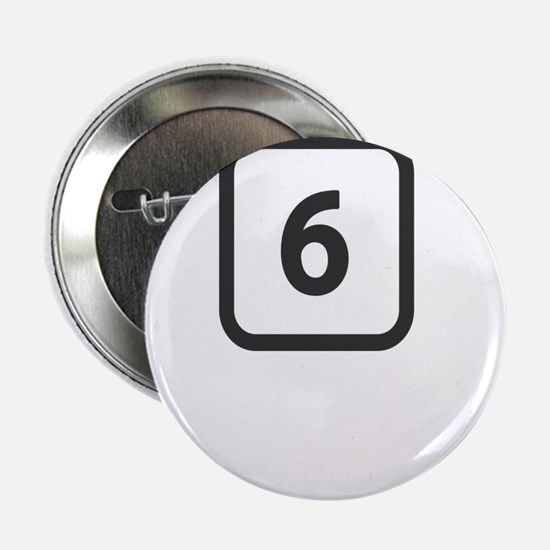 """number 6 six 2.25"""" Button"""