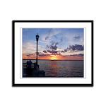 Titusville Pier Sunset Framed Panel Print