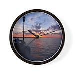 Titusville Pier Sunset Wall Clock