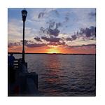 Titusville Pier Sunset Tile Coaster