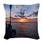 Titusville Pier Sunset Woven Throw Pillow