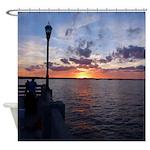 Titusville Pier Sunset Shower Curtain