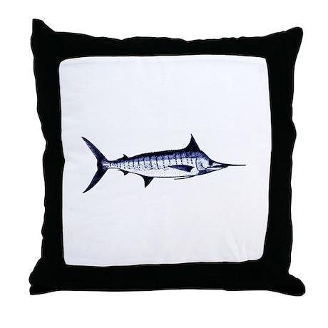 blue marlin logo throw pillow by outdoorsusa