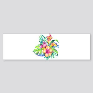 Tropical Flowers Bouquet Bumper Sticker