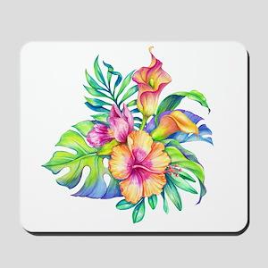 Tropical Flowers Bouquet Mousepad