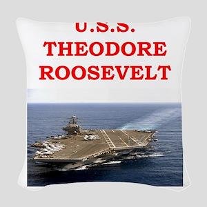 theodore roosevelt Woven Throw Pillow