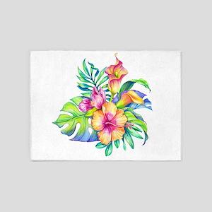 Tropical Flowers Bouquet 5'x7'Area Rug