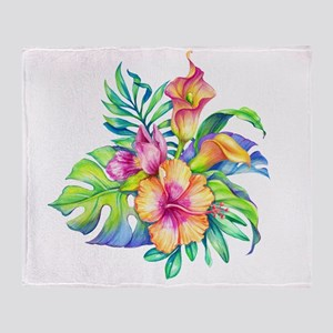 Tropical Flowers Bouquet Throw Blanket
