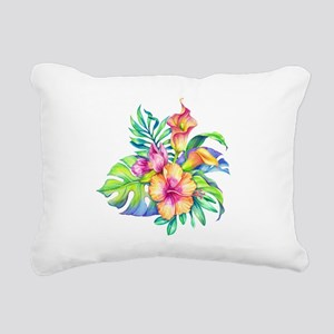 Tropical Flowers Bouquet Rectangular Canvas Pillow
