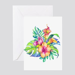 Tropical Flowers Bouquet Greeting Cards