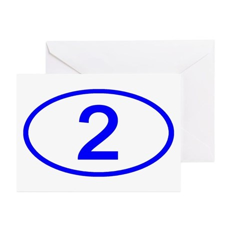 Number 2 Oval Greeting Cards (Pk of 10)