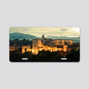 Alhambra Palace at Dusk Aluminum License Plate