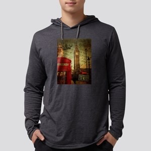 vintage London UK fashion Mens Hooded Shirt