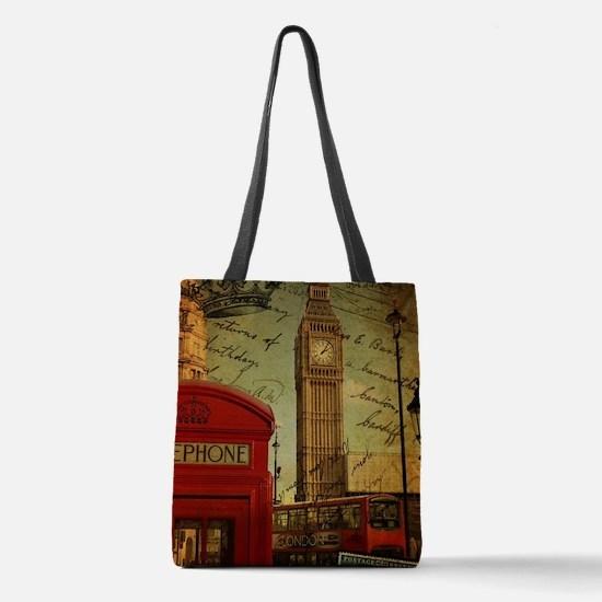 vintage London UK fashion Polyester Tote Bag