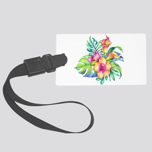 Tropical Flowers Bouquet Large Luggage Tag