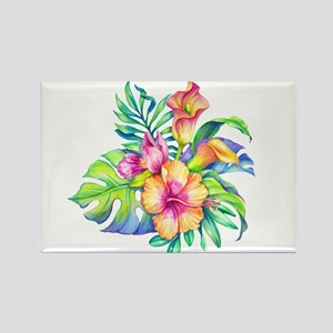 Tropical Flowers Bouquet Magnets