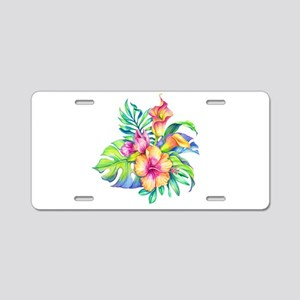 Tropical Flowers Bouquet Aluminum License Plate