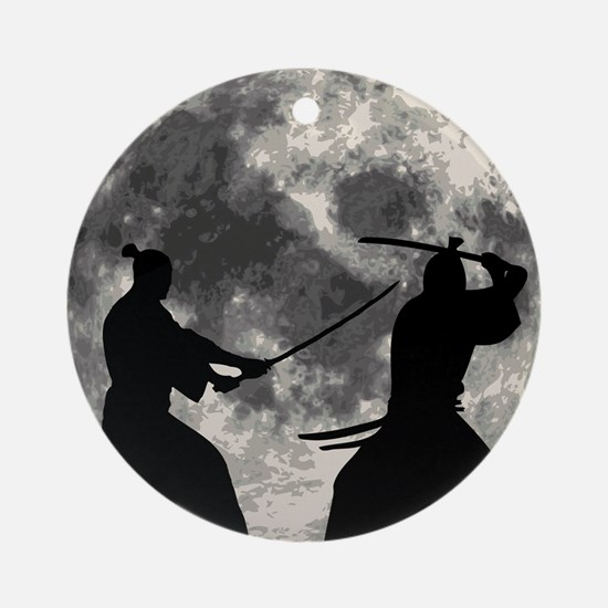 Samurai Moon Ornament (Round)
