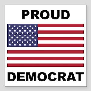 """Democrat Pride (Flag) Square Car Magnet 3"""" x 3"""""""