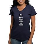 Keep Calm Pray Women's V-Neck Dark T-Shirt