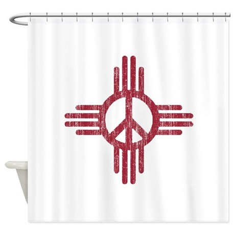 New Mexico Peace Sign Shower Curtain By NationalVintage