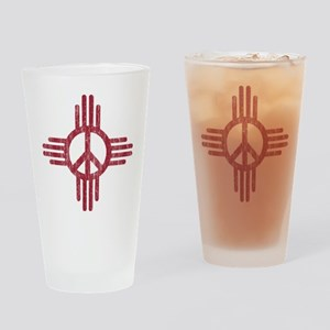 New Mexico Peace Sign Drinking Glass